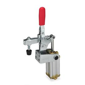 GN 862.1 Steel Pneumatic Toggle Clamps, with Additional Manual Operation, with Magnetic Piston Type: CPV3S - U-bar version, with two flanged washers and GN 708.1 spindle assembly