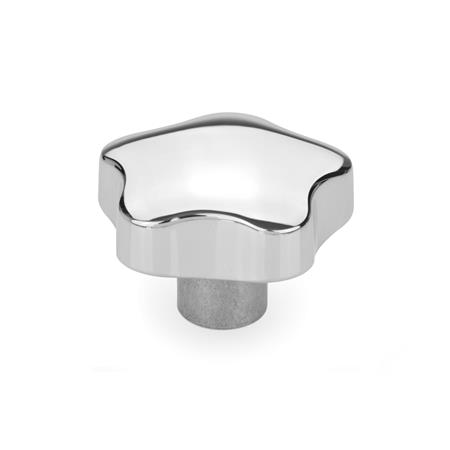 GN 5336 Aluminum Star Knobs, Tapped, Blind Bore Type: C - With plain blind bore, tol. H7 Finish: PL - Polished