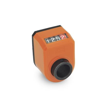 EN 954 Plastic Digital Position Indicators, 4 Digit Display Installation (Front view): AN - on the chamfer, above<br />Color: OR - Orange, RAL 2004