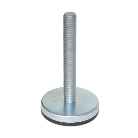 "IIG-EL Inch Size, Steel ""Glide-Rite""™ Industrial Glides, Threaded Stud Type, With Elastomer Pad"