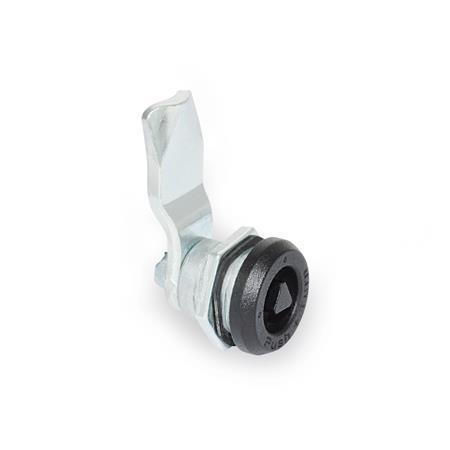 GN 115.9 Pestillos de zinc fundido a presión con función de seguridad, operación con llave, no bloqueables Tipo: DK - Funcionamiento con eje triangular (DK7)