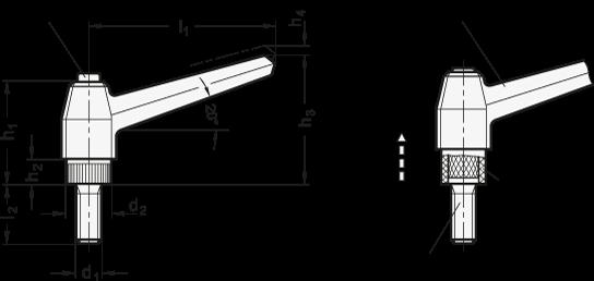 EN 503.1 Manijas ajustables de tecnopolímero con botón pulsador, con espárrago roscado de acero inoxidable boceto