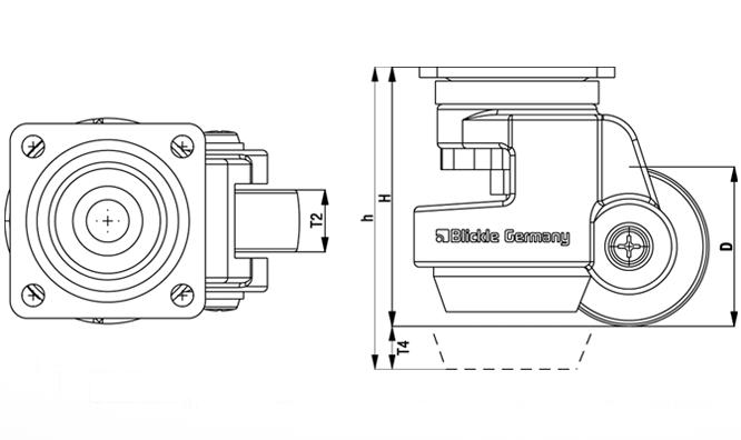 HRP-POA Rodajas de nivelación de servicio medio de acero, con Truck Lock integrado y accesorio de placa superior boceto