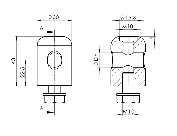 AN 5672 Nickel-Plated Brass or Stainless Steel Clamping Heads For Clamping Knob or Screw sketch