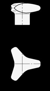 GN 5345.4 Perillas de tres lóbulos, de acero inoxidable, tipo sin troquelar boceto