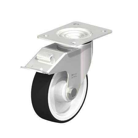 LEX-POTH Stainless Steel Swivel Caster with Polyurethane Treaded Wheel, with Plate Mounting Type: XR-FI - Stainless Steel Roller Bearing with Stop-Fix Brake