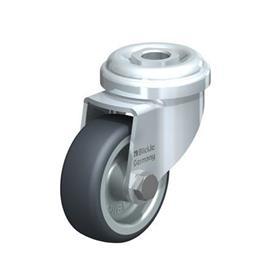 LRA-TPA Rodajas giratorias de acero de servicio ligero con ruedas de caucho termoplástico, y ajuste con agujero para perno  Type: G - Cojinete liso