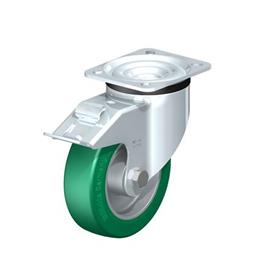 LK-ALST Pressed Steel Swivel Casters, with Medium Heavy Duty Brackets Type: K-FI - Ball Bearing with Stop-Fix Brake