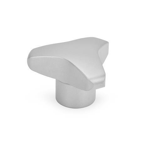 GN 5345 Perillas de tres lóbulos, de acero inoxidable, con agujero roscado ciego, orificio ciego y agujero pasante roscado Tipo: E - Con orificio ciego roscado