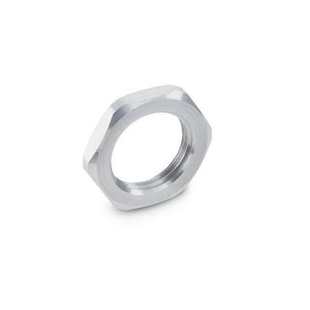 GN 909.5 Stainless Steel Thin Hexagon Nuts, for indexing plungers / cam action plungers