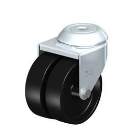 LMDA-POA Rodajas giratorias de acero con ruedas gemelas de nylon negro, montaje con agujero para perno, serie de soportes estándar Type: G - Cojinete liso