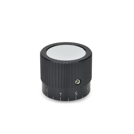 GN 726.1 Metric Size, Aluminum, Knurled Control Knobs, Straight Shoulder Type Bore d<sub>2</sub> (Id. No.1): B 10 Type: S - with scale 0...9, 20 graduations