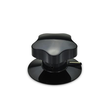 EN 5338 Perillas de control de plástico con puntero, con o sin falda Tipo: S - con carátula y puntero