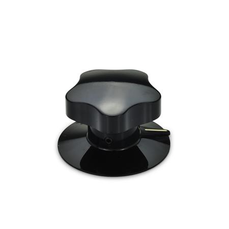 EN 5338 Plastic Control Knobs with Pointer, With or Without Skirt Type: S - with face and pointer