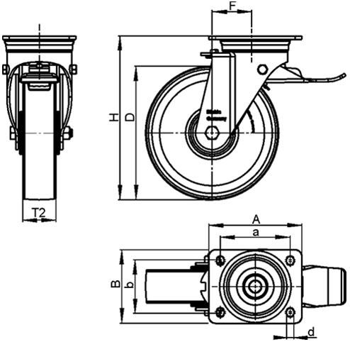 LH-GSPO Rodajas giratorias de acero con rueda de nylon fundido, con placa de montaje, serie de soportes de servicio medio boceto