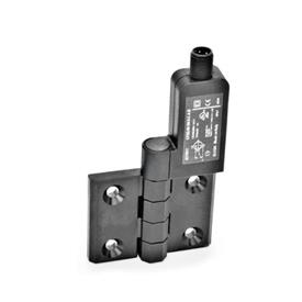 EN 239.4 Plastic Hinges with Integrated Switch, with Connector Plug M12x1 Identification: SR - Bores for contersunk screw, switch right<br />Type: AS - Connector plug at the top