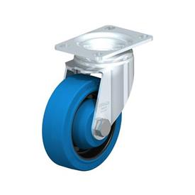 L-POEV Steel Medium Duty Rubber Wheel Swivel Casters, with Plate Mounting Type: K-SB-FK - Ball Bearing with Blue Wheel, with Thread Guard