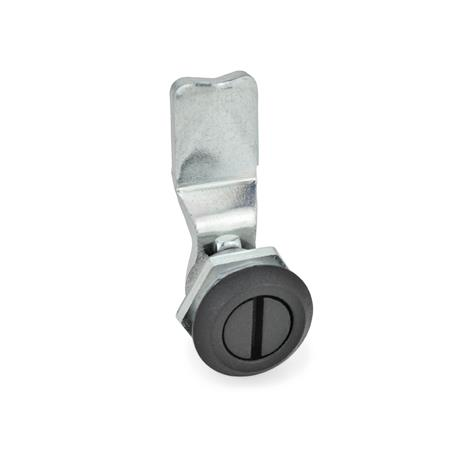 GN 115 Zinc Die-Cast Latches, Key Used for Operation, Locating Ring Black Type: SCH - Operation with slot<br />Finish locating ring: SW - Black, RAL 9005, textured finish