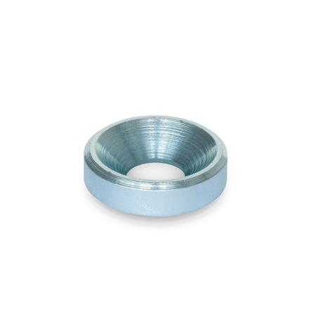 GN 6341 Steel Washers Finish: ZB - Zinc plated, blue passivated finish<br />Type: B - with bore for countersunk screw