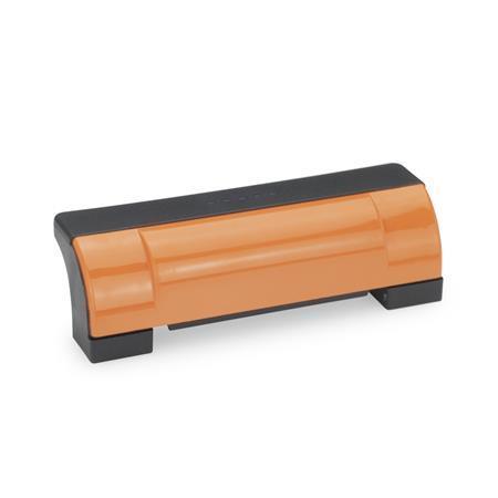 EN 630 Jaladeras en «U» de seguridad, cerradas, inclinadas Ergostyle® de plástico tecnopolímero Color de la cubierta: DOR - Naranja, RAL 2004