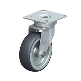 LPA-TPA Rodajas giratorias de acero de servicio ligero, con ruedas de caucho termoplástico y placa de montaje, serie de soportes estándar Type: G - Cojinete liso