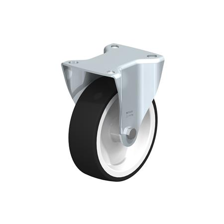 BK-POTH Zinc plated steel stamping Medium Duty Fixed Polyurethane Treaded Casters, with Plate Mounting, Medium-Heavy Duty Bracket Series Type: G - Plain Bearing