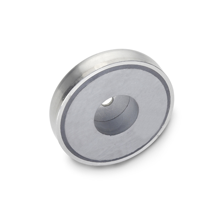 GN 50.45 Stainless Steel Retaining Magnets, disc-shaped, with bore