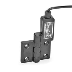 EN 239.4 Plastic Hinges with Integrated Switch, with Connector Cable Identification: SR - Bores for contersunk screw, switch right<br />Type: AK - Cable at the top