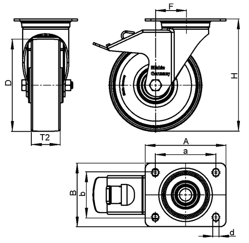 LKPA-TPA Steel Light Duty Swivel Casters, with Thermoplastic Rubber Wheels and Heavy Brackets sketch