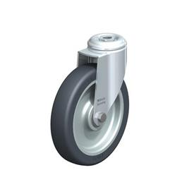 LKRA-TPA Rodajas giratorias de acero de servicio ligero, con ruedas de caucho termoplástico y ajuste con agujero para perno, serie de soportes pesados  Type: K - Cojinete de bolas