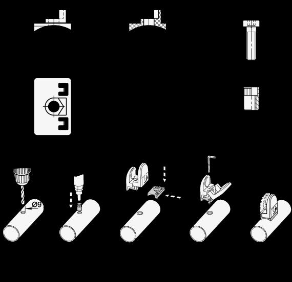 EN 649.1 Adaptador de plástico, para montar abrazaderas de soporte para paneles EN 649 a tubos redondos boceto