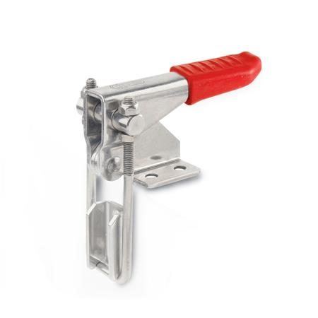 GN 851.1 Stainless steel Vertical Latch Type Toggle Clamps, horizontal mounting base, vertical clamping arm Type: T3 - with U-bolt latch, with catch