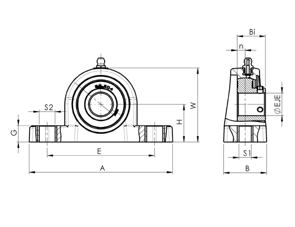 AN 7874.1 Stainless Steel Pillow Block Flange Bearing, With Through Hole Bearing sketch