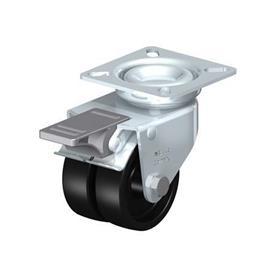 LDA-POA Rodajas giratorias de acero con ruedas gemelas de nylon negro, con placa de montaje, serie de soportes estándar Type: G-FI - Cojinete liso con freno «stop-fix»
