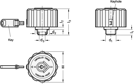EN 775 Tapones de ventilación de plástico, con filtro y válvula doble, anti-vandalismo boceto