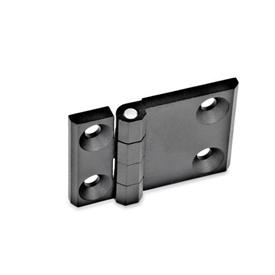 GN 237 Zinc Die-Cast Hinges with Extended Hinge Wing Werkstoff: ZD - Zinc die-cast<br />Type: A - 2x2 bores for countersunk screws<br />Finish: SW - Black, RAL 9005, textured finish