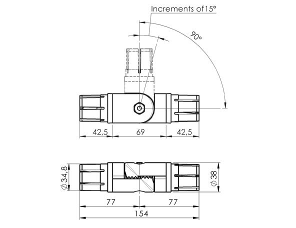 AN 355 Juntas de conexión en ángulo para tubos redondos con grosor de pared de 38 mm y D.E. de 1.5 mm boceto
