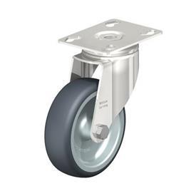 LKPXA-TPA Rodajas giratorias de acero inoxidable de servicio ligero, con ruedas de caucho termoplástico y soportes pesados   Type: G - Cojinete liso