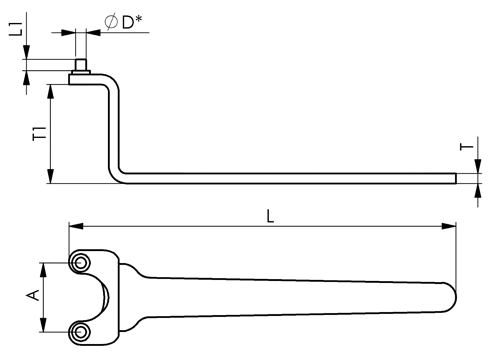 DIN 3116 Pin Face Spanner Wrenches sketch