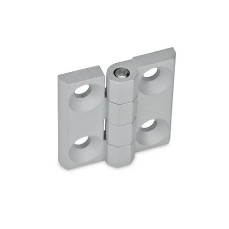 GN 237 Zinc Die-Cast or Aluminum Hinges, Countersunk Thru Holes or Threaded Stud Type Material: ZD - Zinc die-cast<br />Type: A - 2x2 bores for countersunk screws<br />Finish: SR - Silver, RAL 9006, textured finish