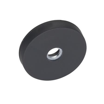 GN 51.4 Imanes de retención de acero inoxidable, con forma de disco, con agujero pasante, con cubierta de caucho