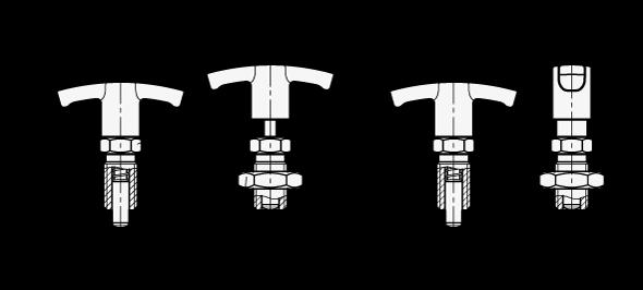GN 817.4 Posicionadores de indexado con mango en T, de acero inoxidable, con y sin bloqueo boceto