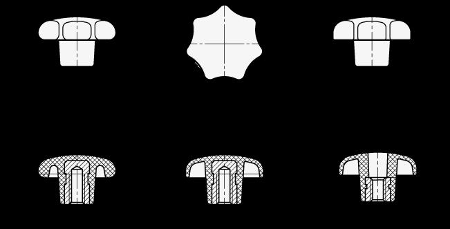 DIN 6336 Perillas de estrella de plástico, con inserto roscado u orificio pasante con rosca de acero boceto