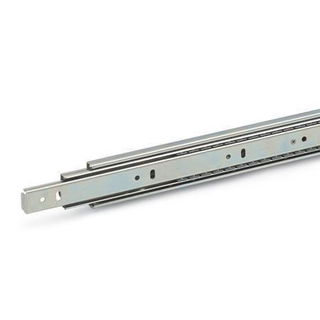 GN 1410 Steel Telescopic Slides, with Full Extension, Load Capacity up to 115 lbf
