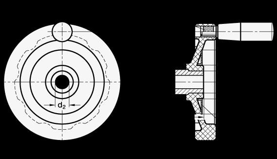 EN 520.1 Volantes de disco, fenólico plástico, con o sin empuñadura giratoria boceto