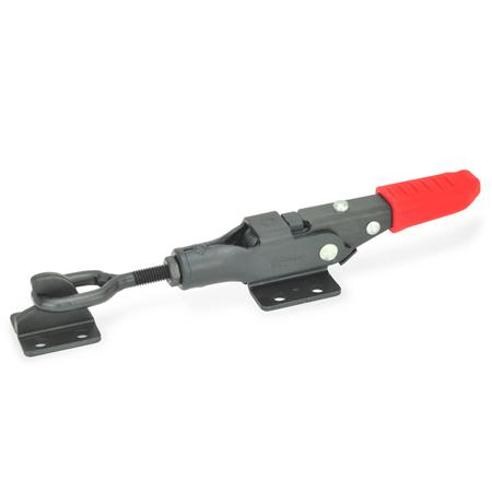 GN 853 Steel Latch Type Toggle Clamps, with locking mechanism Type: TG - with oval head latch bolt, with catch