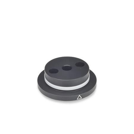 GN 723.3 Metric Size, Aluminum, Control Knob Flanges with Location Point, For Control Knobs GN 723.4  Type: A - with friction ring