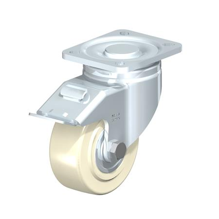 LH-GSPO Rodajas giratorias de acero con rueda de nylon fundido, con placa de montaje, serie de soportes de servicio medio Type: K-FI - Cojinete de bolas con freno «stop-fix»