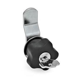 EN 217 Mecanismos de bloqueo para puertas de acero, con perilla de estrella de plástico, con o sin cerradura con llave Tipo: B - con pestillo de compensación<br />Especificación: SR - bloqueable con giro a la derecha