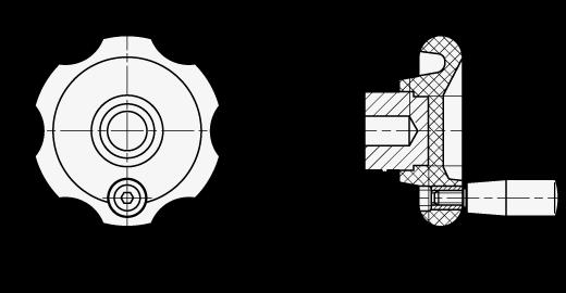 EN 527.2 Perillas de control de seis lóbulos, plástico fenólico reforzado, con empuñadura giratoria boceto